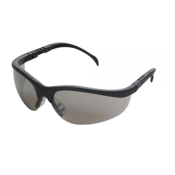 Crews Klondike Protective Eyewear, Black Frame, Silver Mirror Lens