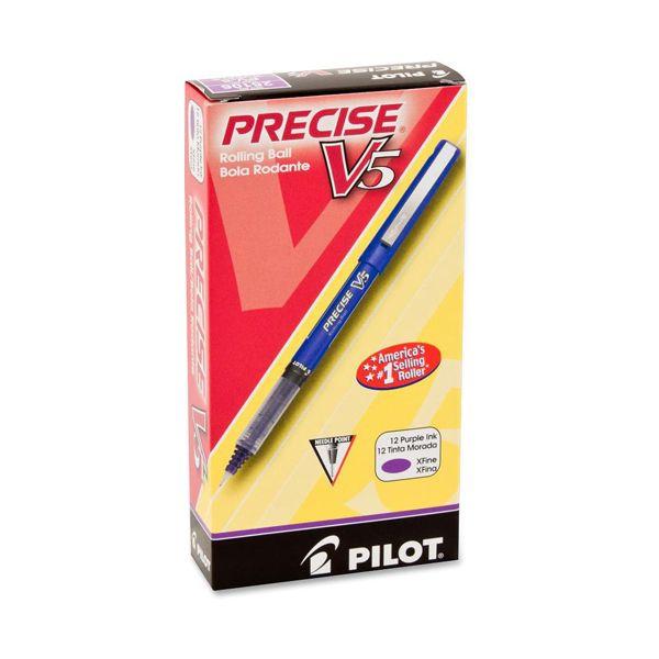 Pilot Precise V5 Roller Ball Stick Pen, Precision Point, Purple Ink, .5mm, Dozen
