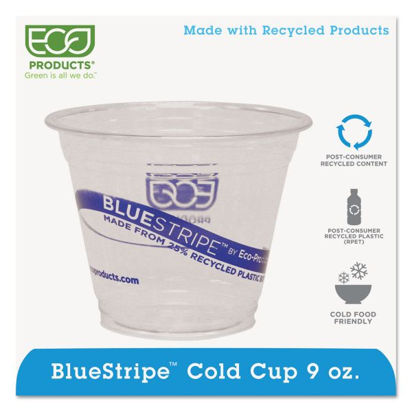 Eco-Products BlueStripe 9 oz Plastic Cups