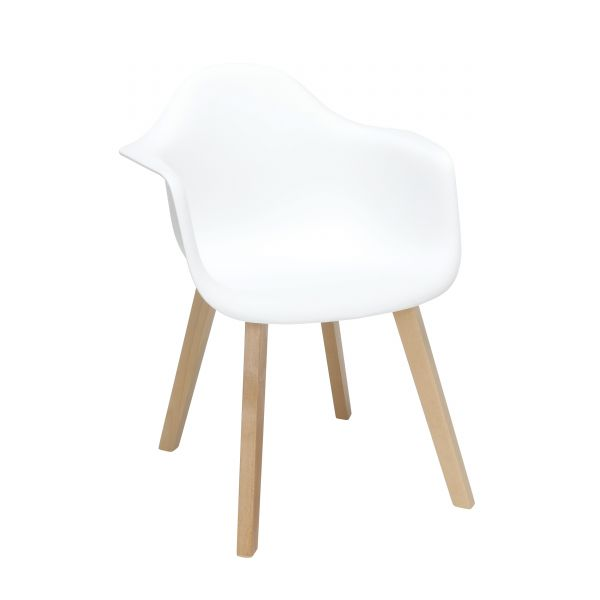 Admirable Ofm 161 Collection Mid Century Modern Plastic Molded Accent Chairs With Arms Dining Chairs Solid Beechwood Legs 2 Pack In White 161 Pa18B Wht 2 Alphanode Cool Chair Designs And Ideas Alphanodeonline