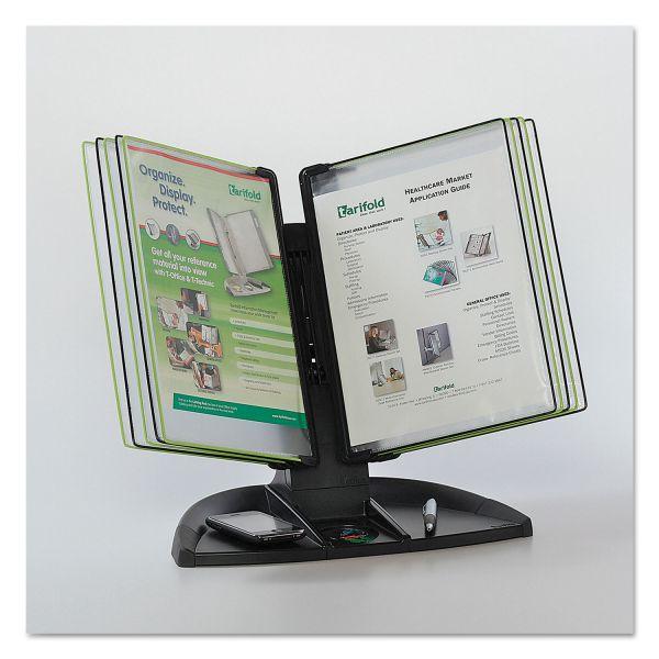 Tarifold Black Line Desk Set, Black/Green Pockets