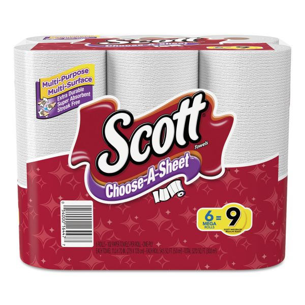 Scott Choose-a-Size Mega Roll, White, 102/Roll, 6 Rolls/Pack, 4 Packs/Carton