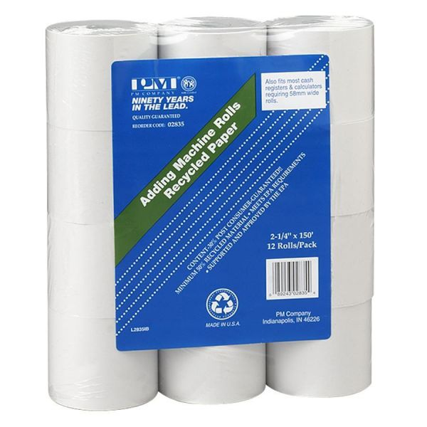 "PM Company One Ply Receipt Roll, 2 1/4"" x 150 ft, White, 12/Pack"