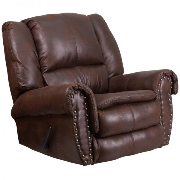 Flash Furniture Contemporary, Breathable Comfort Padre Espresso Fabric Rocker Recliner with Brass Accent Nails