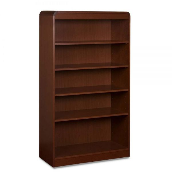 Lorell Radius 5-Shelf Hardwood Veneer Bookcase