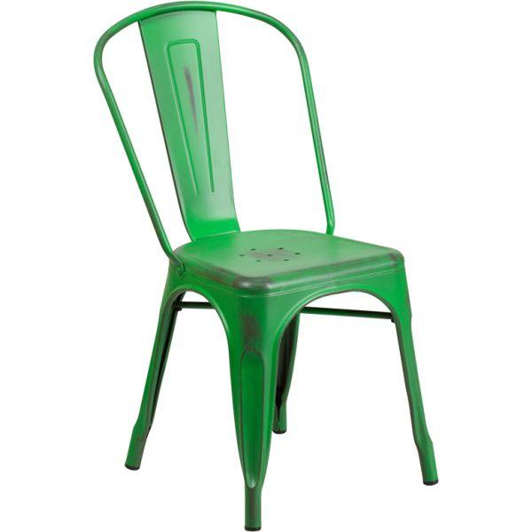 Flash Furniture Distressed Green Metal Indoor-Outdoor Stackable Chair