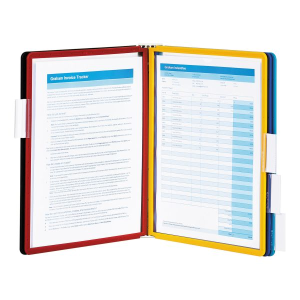 Durable Sherpa Sherpa Wall-Mount Reference System, 5 Panels, Letter, Assorted Borders & Panels