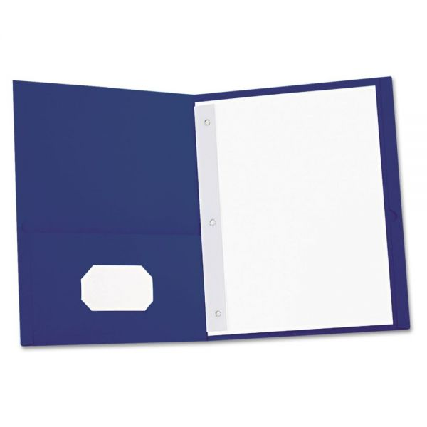 Universal Dark Blue Two Pocket Folders with Fasteners