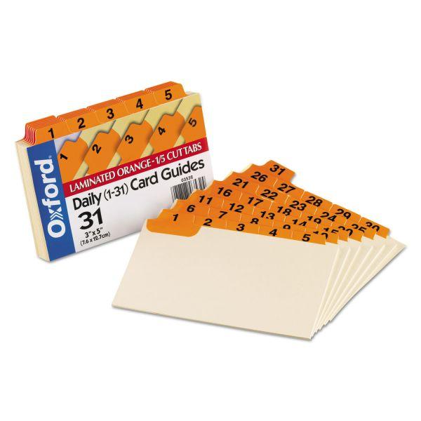 Oxford Laminated Index Card Guides, Daily, 1/5 Tab, Manila, 3 x 5, 31/Set