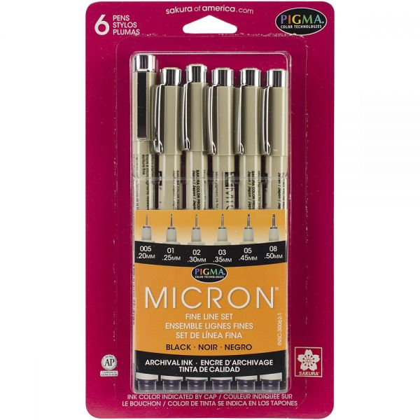Pigma Micron Pens Assorted 6/Pkg