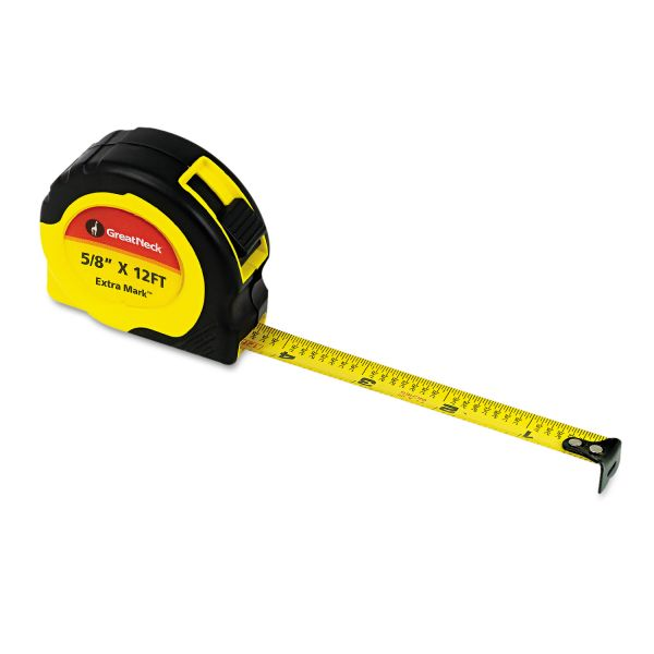 "Great Neck ExtraMark Power Tape, 5/8"" x 12ft, Steel, Yellow/Black"