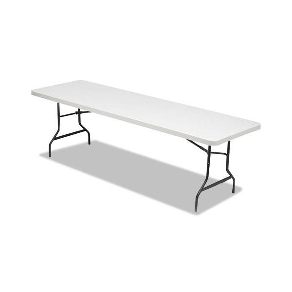 Alera Resin Rectangular Folding Table, Square Edge, 96w x 30d x 29h, Platinum