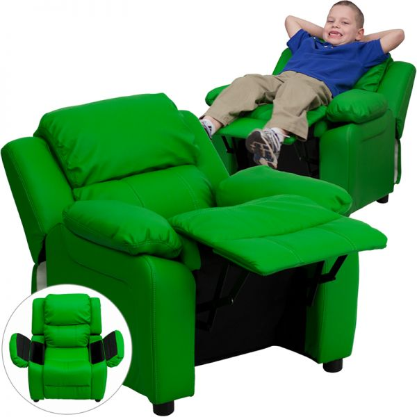 Flash Furniture Deluxe Padded Contemporary Green Vinyl Kids Recliner with Storage Arms