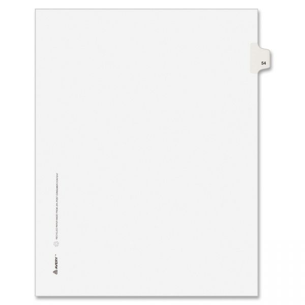 Avery-Style Legal Exhibit Side Tab Divider, Title: 54, Letter, White, 25/Pack
