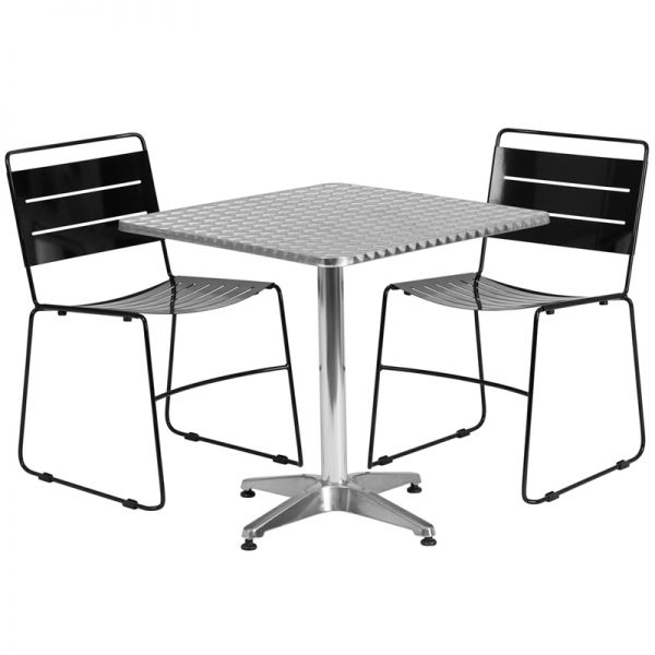 Flash Furniture 27.5'' Square Aluminum Indoor-Outdoor Table with 2 Black Metal Stack Chairs