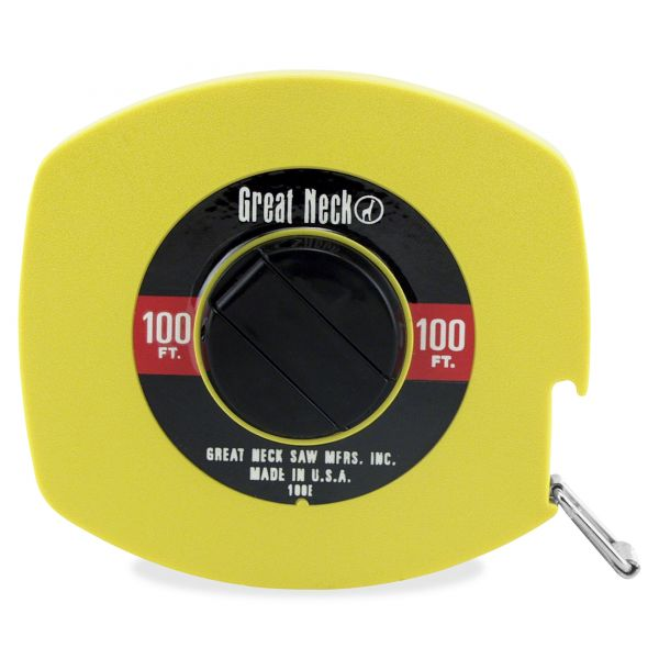 """Great Neck English Rule Measuring Tape, 3/8"""" x 100ft, Steel, Yellow"""