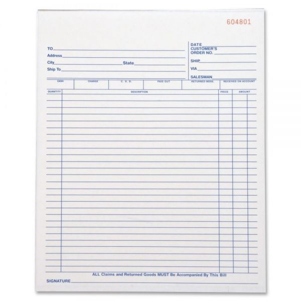Business Source All-Purpose 3-Part Carbonless Sales Forms