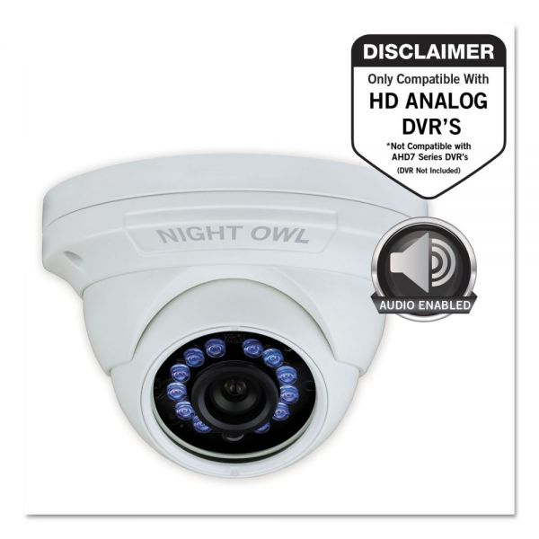 Night Owl Add-On HD Wired Audio-Enabled Security Dome Camera, 1080p Resolution
