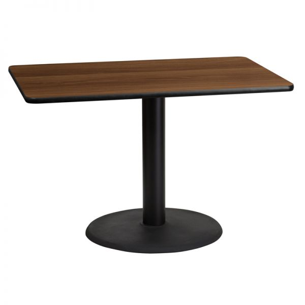 Flash Furniture 30'' x 45'' Rectangular Walnut Laminate Table Top with 24'' Round Table Height Base