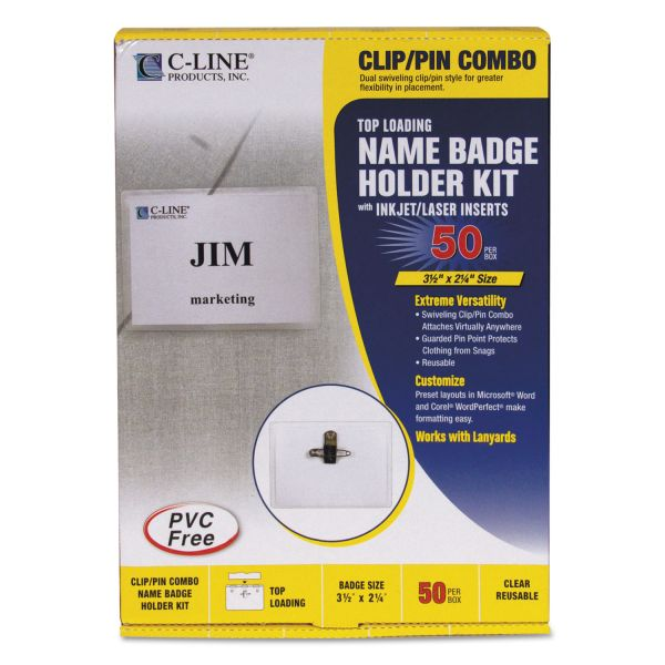 C-Line Name Badge Kits, Top Load, 3 1/2 x 2 1/4, Clear, Combo Clip/Pin, 50/Box