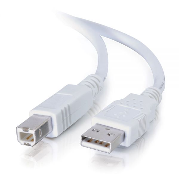 C2G 2m USB 2.0 A to B Cable for Printers and USB Devices - White (6.5ft)