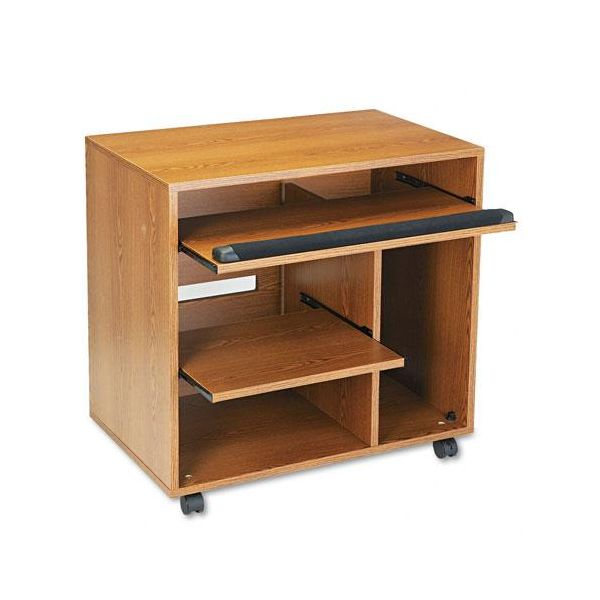 Safco Ready-to-Use PC Workstation, 31-3/4w x 19-3/4d x 31-3/8h, Med Oak Laminate Top