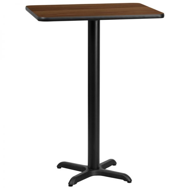 Flash Furniture 24'' x 30'' Rectangular Walnut Laminate Table Top with 22'' x 22'' Bar Height Table Base