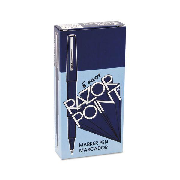 Pilot Razor Point Fine Line Marker Pen, Ultra-Fine, Blue Ink, .3mm, Dozen