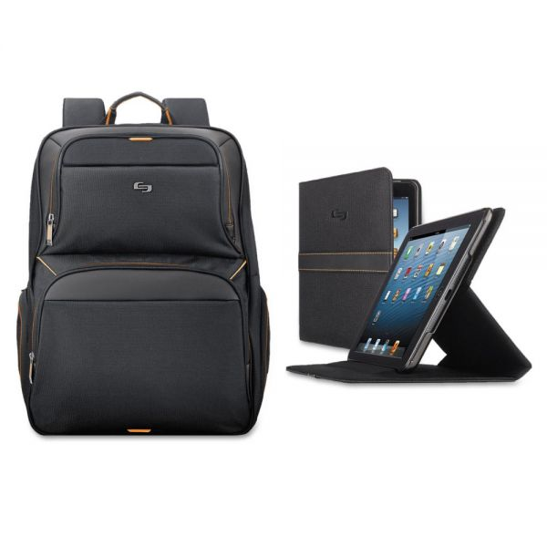 "Solo Urban Backpack/Tablet Case Bundle, 17.3"", 12 1/2 x 8 1/2 x 18 1/2, Black/Orange"