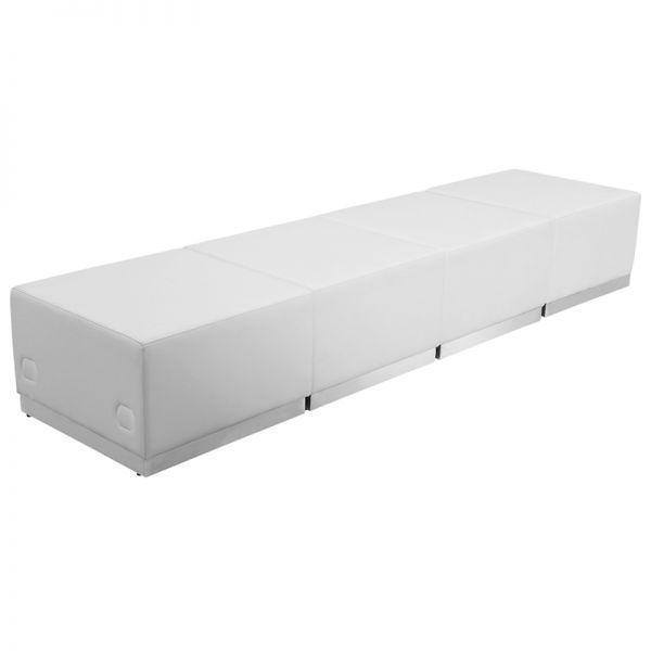 Flash Furniture HERCULES Alon Series Melrose White Leather Reception Configuration, 4 Pieces