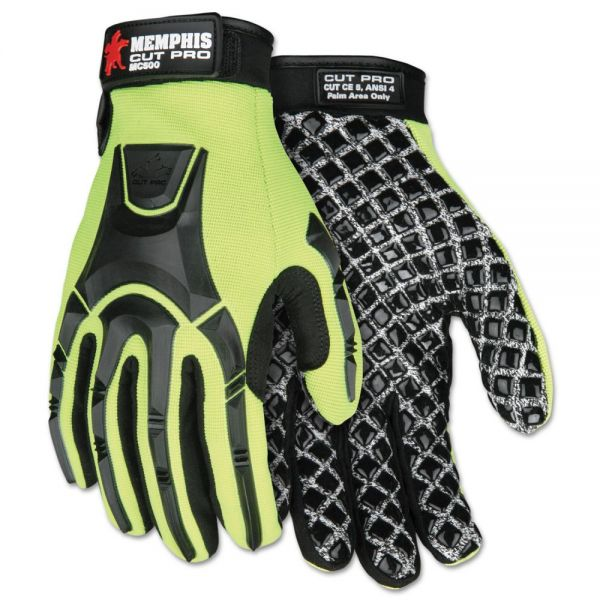 Memphis Cut Pro MC500 Gloves, High Vis Lime/Black, Medium