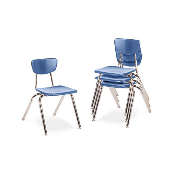 "Virco 3000 Series Classroom Chairs, 16"" Seat Height, Blueberry, 4/Carton"