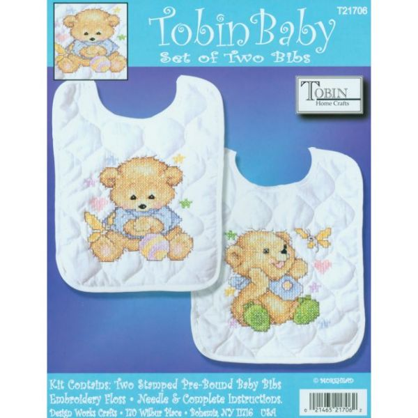 Baby Bears Bib Pair Stamped Cross Stitch Kit
