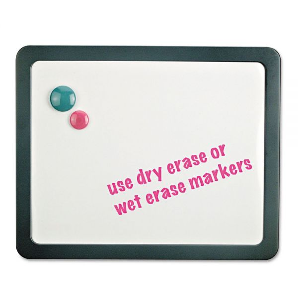 Universal Recycled Cubicle Dry Erase Board, 15 7/8 x 12 7/8, Charcoal, with Three Magnets