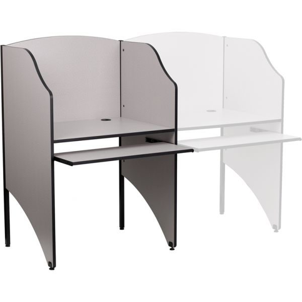 Flash Furniture Starter Study Carrel in Nebula Grey Finish