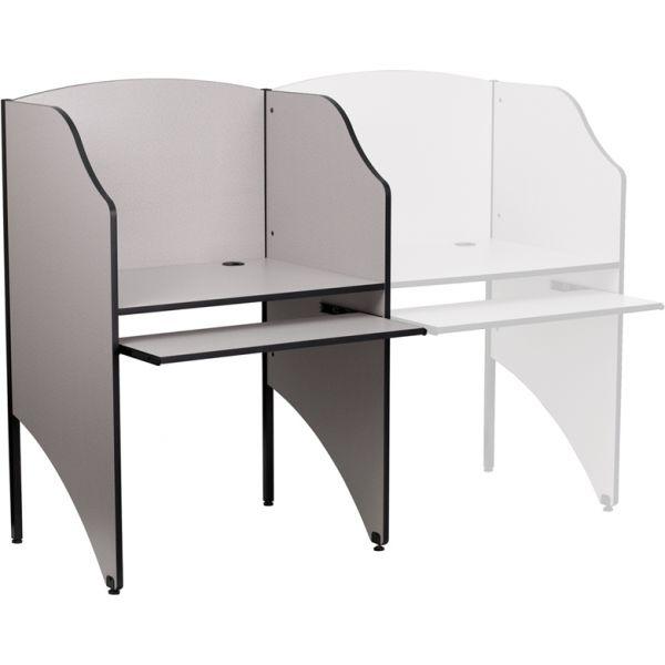 Flash Furniture Starter Study Carrel in Nebula Grey Finish