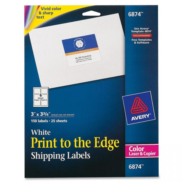 Avery 6874 Print To The Edge Shipping Labels