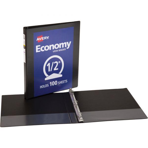 """Avery Economy 3-Ring View Binder, 1/2"""" Capacity, Round Ring, Black"""