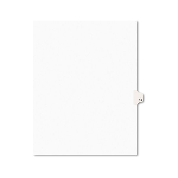 Avery-Style Legal Exhibit Side Tab Divider, Title: 15, Letter, White, 25/Pack