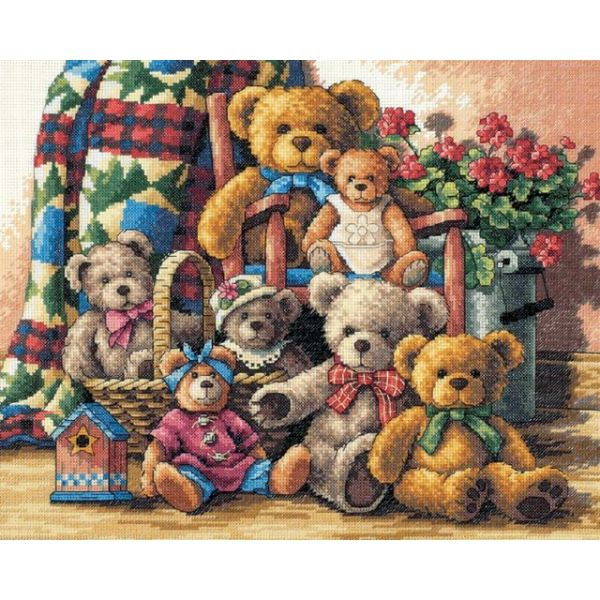 Dimensions Gold Collection Teddy Bear Gathering Counted Cross Stitch Kit