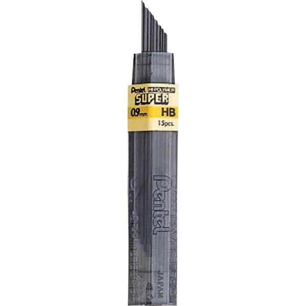 Pentel Super Hi-Polymer Lead Refills, 0.9mm, HB, Black, 15 Leads/Pack
