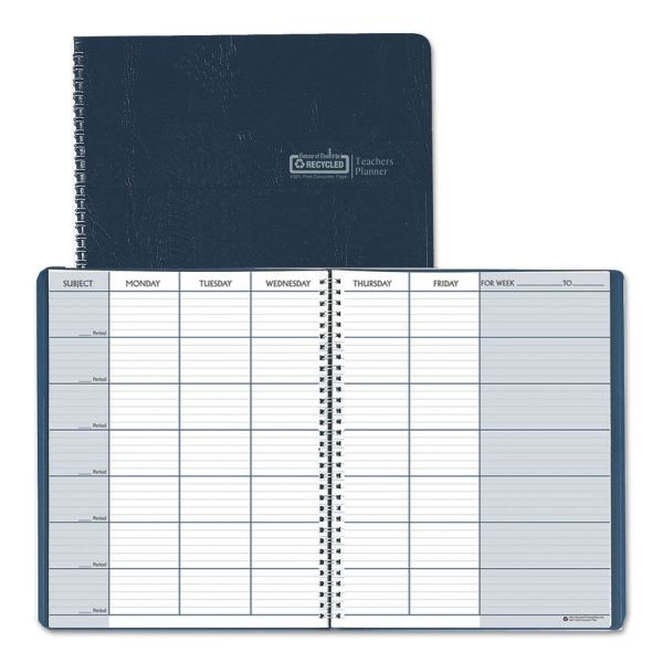 House of Doolittle Teacher's Planner, Embossed Simulated Leather Cover, 11 x 8-1/2, Blue