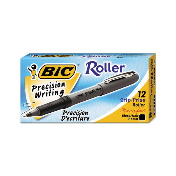 BIC Grip Stick Roller Ball Pen, Black Ink, .5mm, Micro Fine, Dozen
