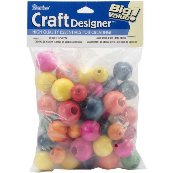 Large Wood Beads Assorted 45/Pkg