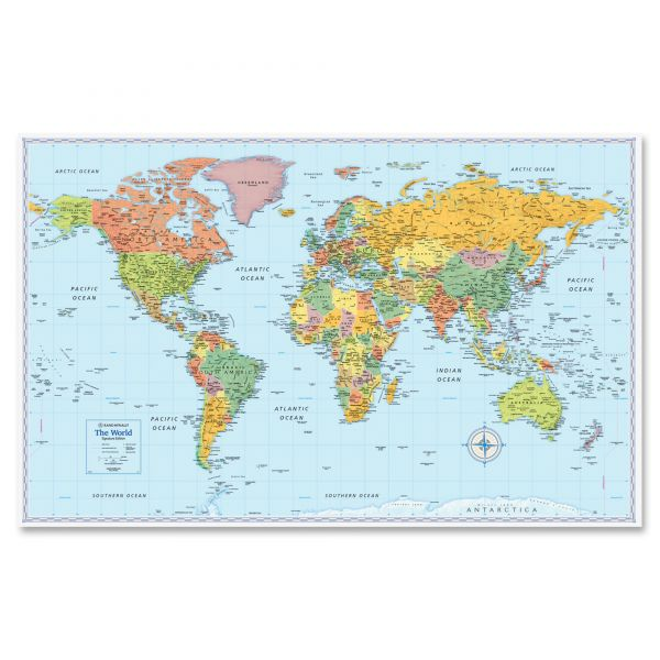 Rand McNally M-Series Full-Color World Map, 50 x 32