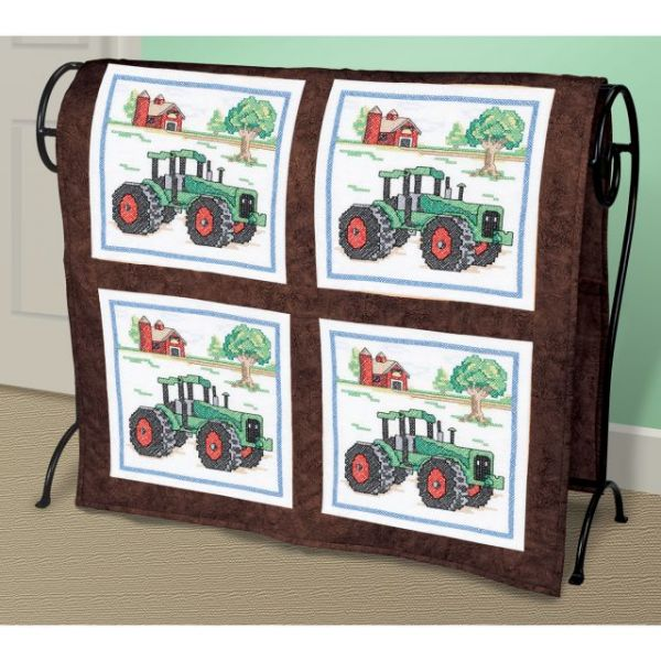 Tractor Stamped Cross Stitch Quilt Blocks