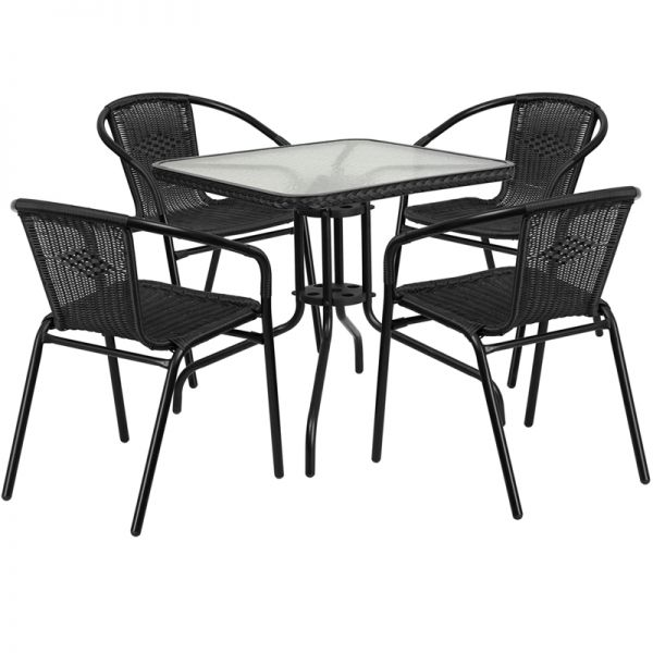 Flash Furniture 28'' Square Glass Metal Table with Black Rattan Edging and 4 Black Rattan Stack Chairs