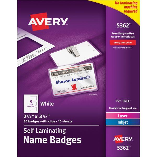 Avery Self-Laminating Laser/Inkjet Printer Badges, 2 1/4 x 3 1/2, White, 30/Box
