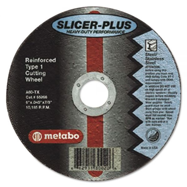 "metabo SLICER-PLUS High-Performance Cutting Wheel, 4-1/2"" x .045 x 7/8"", Type 1, A60TX"