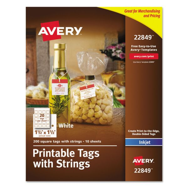 Avery Printable Square Tags with Strings, 1 1/2 x 1 1/2, White, 200/Pack
